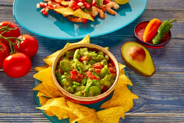 Guacamole mit avocado-tomaten und nachos