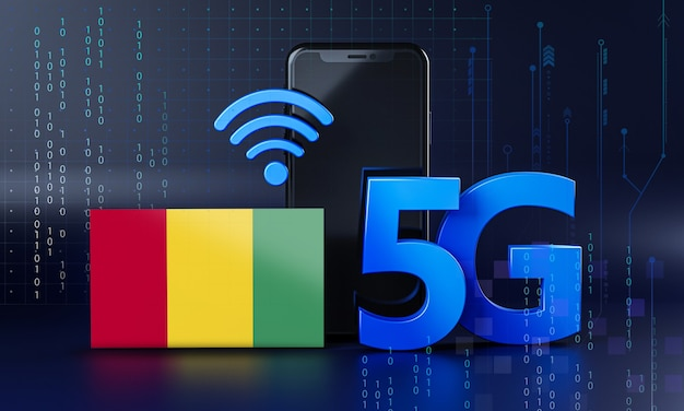Guinea bereit für 5g-verbindungskonzept. hintergrund der 3d-rendering-smartphone-technologie