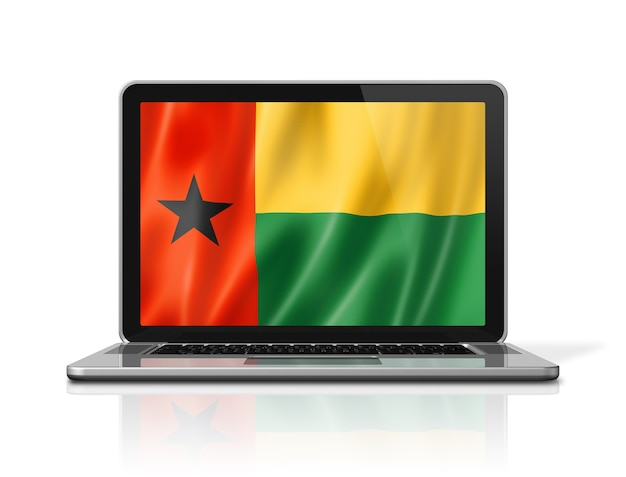 Guinea-bissau-flag auf laptop-bildschirm isoliert auf weiss. 3d-darstellung rendern.