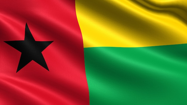 Guinea-bissau flagge, mit wehenden stoff textur