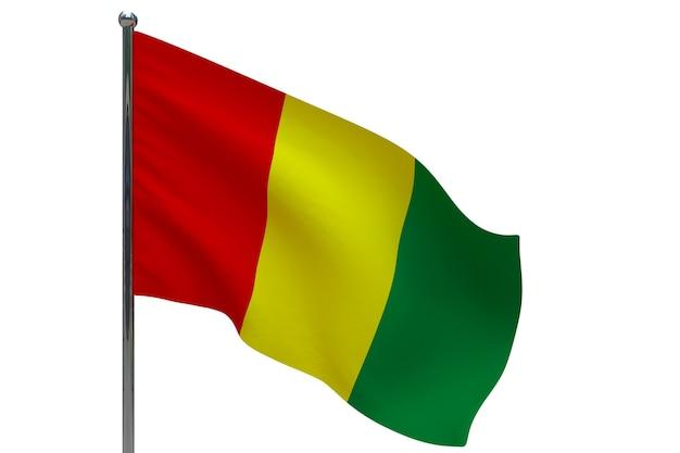 Guinea flagge auf stange. fahnenmast aus metall. nationalflagge von guinea 3d-illustration auf weiß