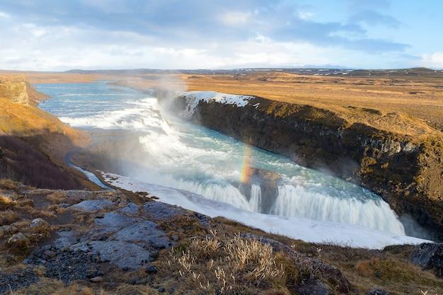 Gulfoss waterfall island winter