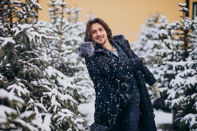 Gut aussehender mann, der einen weihnachtsbaum wählt