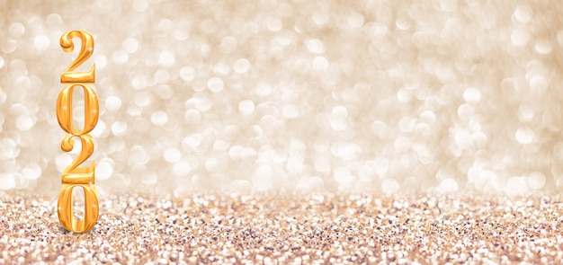 Guten rutsch ins neue jahr 2020-jährige goldzahl (wiedergabe 3d) am funkelnden goldenen funkeln