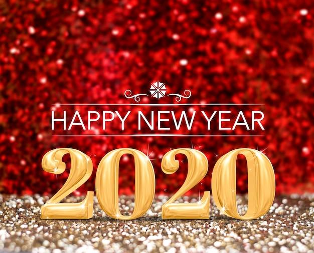 Guten rutsch ins neue jahr 2020-jährige zahl (wiedergabe 3d) am funkelnden gold und am roten funkelnstudiohintergrund