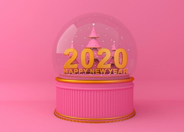 Guten rutsch ins neue jahr 2020 kreative wiedergabeillustration des hintergrundes 3d.