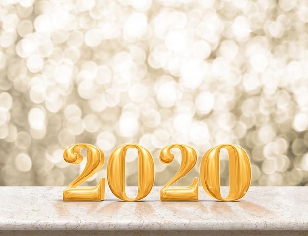 Guten rutsch ins neue jahr-gold 2020 auf marmortabelle mit funkelnder gold-bokeh wand