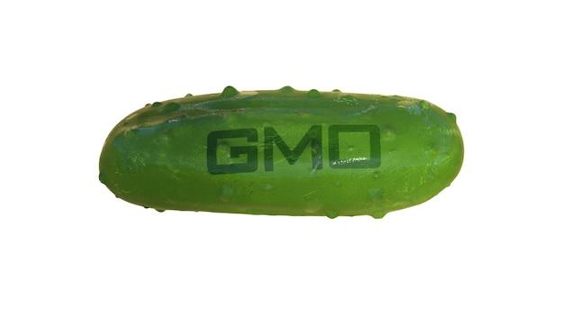 Gvo-lebensmittel. illustration von gurken mit gvo-zeichen