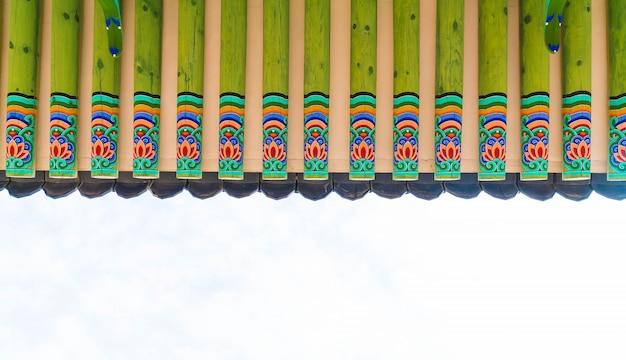Gyeongbokgung palace schöne traditionelle architektur in seoul, korea - boost up farbe verarbeitung