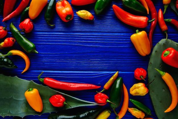Habanero-poblano-serrano-jalapeno-blauhintergrund der mexikanischen heißen paprikas pfeffert bunten
