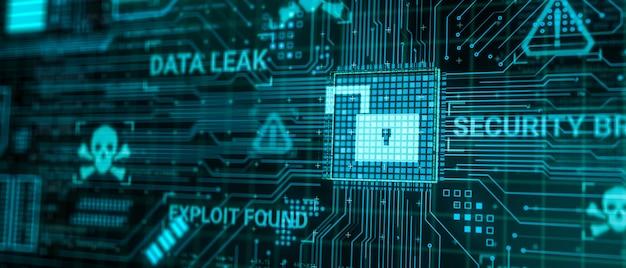 Hacker greifen computer-hardware-mikrochip an, während daten über das internet-netzwerk verarbeitet werden, 3d-rendering unsicheres cyber-sicherheitskonzept für datenbankverletzungen, viren-malware-entsperrungs-warnbildschirm
