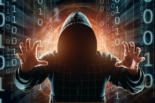Hacker im haubenhacker-angriffsschattenbild der mannmischmedien