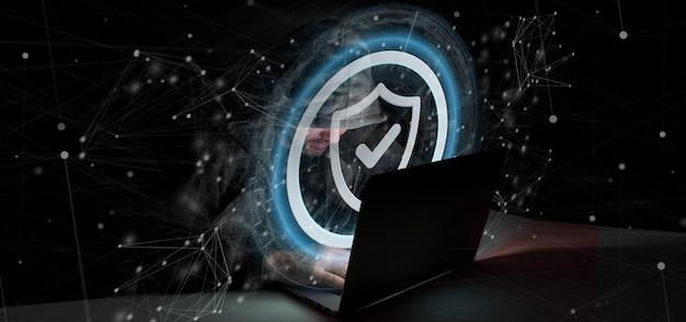 Hacker-mann, der eine wiedergabe des vorhängeschlosswebsicherheitskonzeptes 3d hält