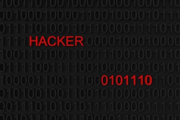 Hackerwort auf binärem hintergrund.