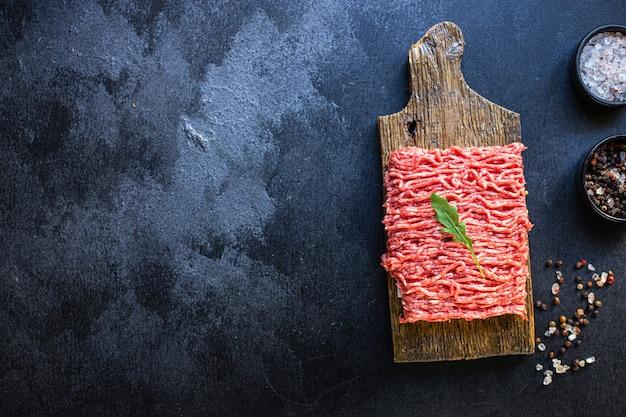 Hackfleisch roher fleischwolf zutat schweinefleisch oder rindfleisch