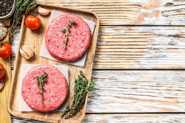 Hackfleischschnitzel, rinderhackfleisch und schweinefleisch