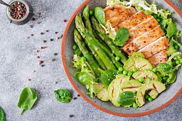 Hähnchenfilet auf einem grill mit einer beilage aus spargel und gegrilltem avokado gekocht. diätmenü. gesundes essen. flach liegen. draufsicht