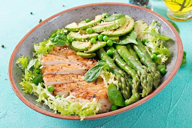 Hähnchenfilet auf einem grill mit einer beilage aus spargel und gegrilltem avokado gekocht. diätmenü. gesundes essen
