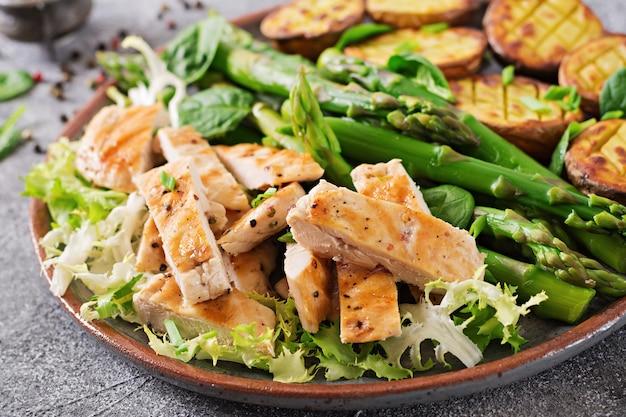 Hähnchenfilet vom grill mit spargelgarnitur und bratkartoffeln. diätmenü. gesundes essen.