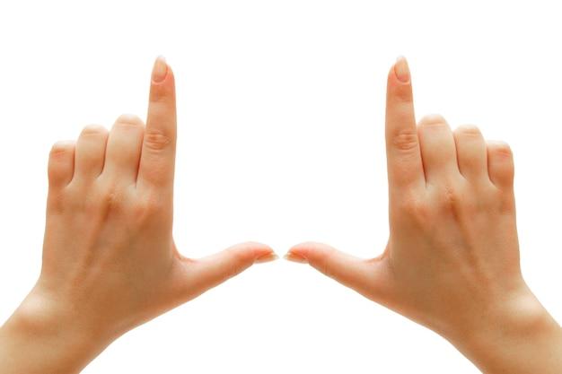 Hände. auf einem weißen tisch. isoliert.