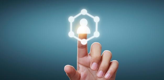 Hände berühren knopfbildschirm schnittstelle globale verbindung kundennetzwerk datenaustausch