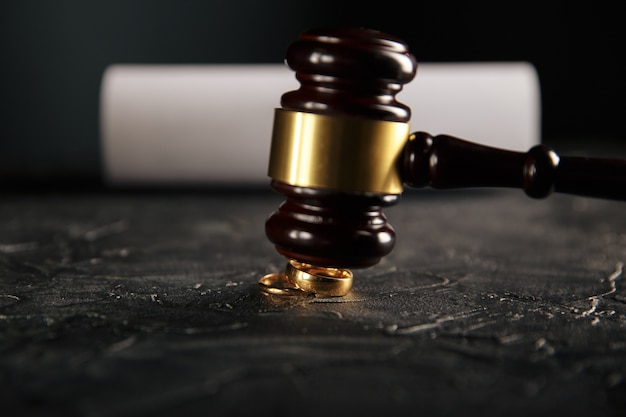 Hände der frau, des ehemanns, der das scheidungsurteil, die auflösung, die aufhebung der ehe, die rechtlichen trennungsdokumente, die einreichung von scheidungspapieren oder die vom anwalt erstellte voreheliche vereinbarung unterzeichnet. hochzeitsring