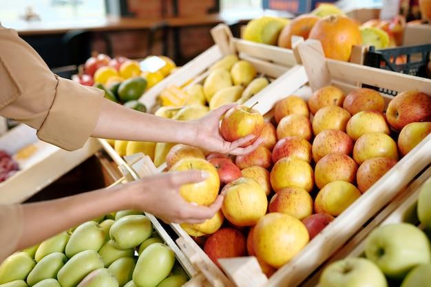 Hände der jungen frau, die zwei reife gelbe äpfel von der holzkiste im supermarkt nimmt, während früchte wählen