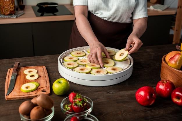 Hände der zeitgenössischen hausfrau, die scheiben frischer äpfel auf eines der tabletts mit obsttrockner legen und gleichzeitig für den winter sorgen