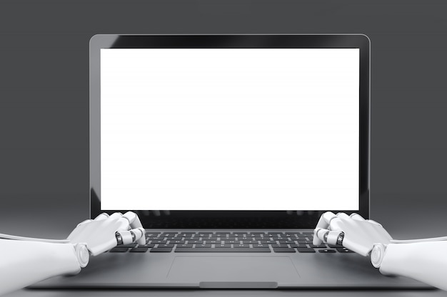 Hände des roboters, der auf der tastatur des laptops vor einer leeren 3d-illustration des bildschirms tippt