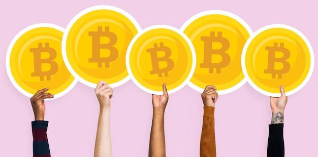 Hände, die bitcoins clipart halten
