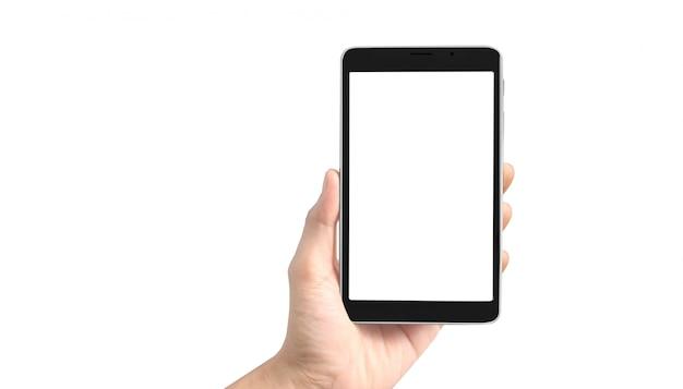 Hände, die ein tablet-touch-computer-gerät halten