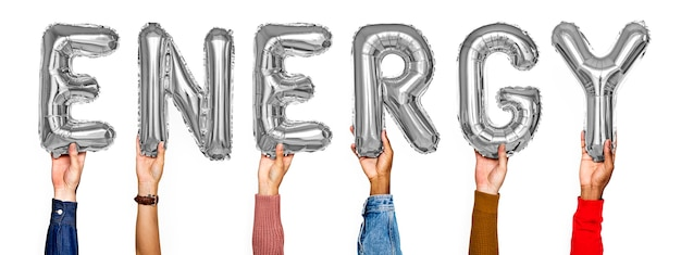 Hände, die energie zeigen, steigt wort im ballon auf