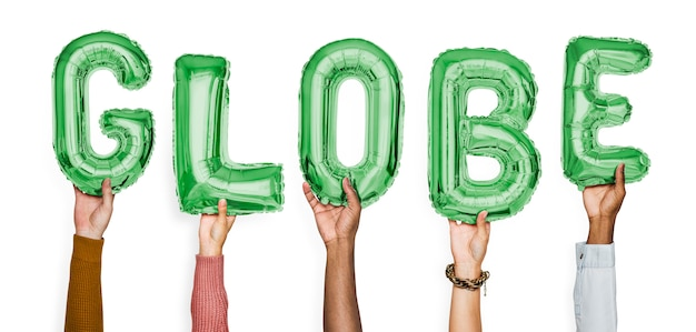 Hände, die kugelballonwort zeigen
