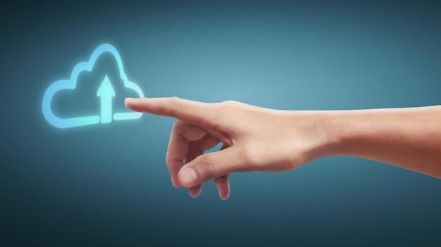 Hände, die kundenvernetzung der globalen verbindung der knopfschirmschnittstelle berühren