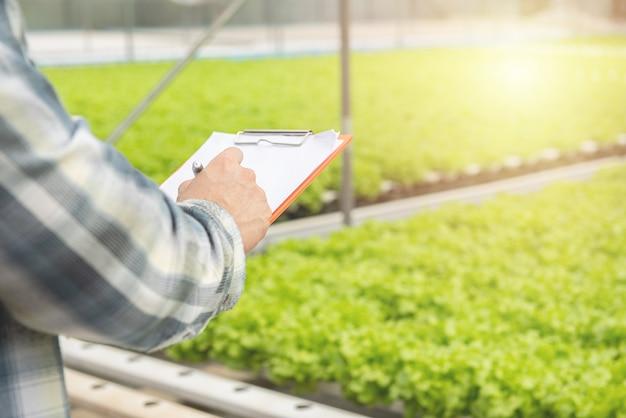 Hände, die papierdokumente mit stift halten und eine anmerkung schreiben, berichten über grünes organisches gemüse im kindergartenbauernhof