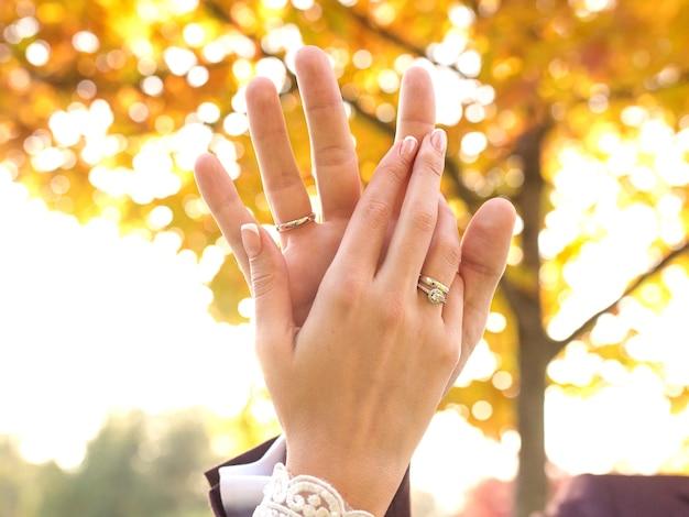 Hände eines verliebten hochzeitspaares