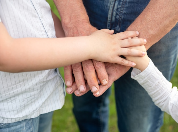 Hände großvater und enkelkinder im sommer wald natur im freien.