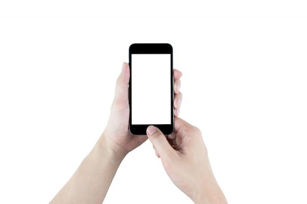 Hände halten den schwarzen smartphone, lokalisiert. beschneidungspfad eingebettet.
