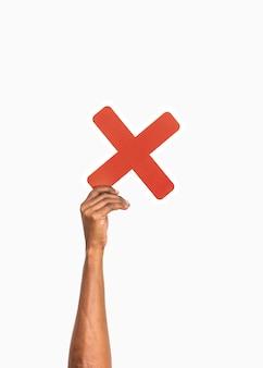 Hände halten ein multiplikationssymbol
