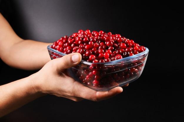 Hände halten glasschüssel mit roter cranberry