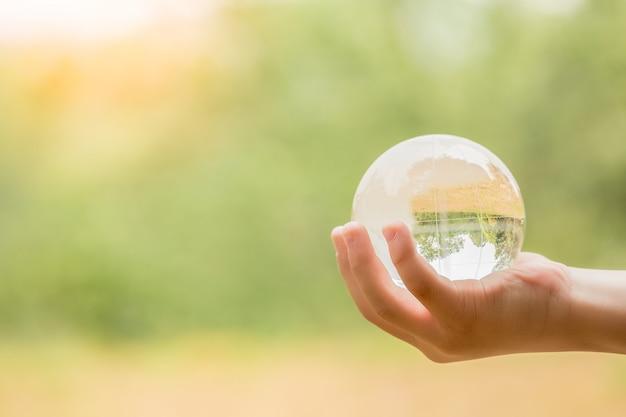 Hände halten globe glas im grünen wald