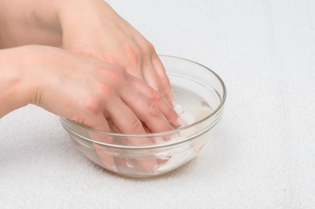 Hände im wasser mit muscheln