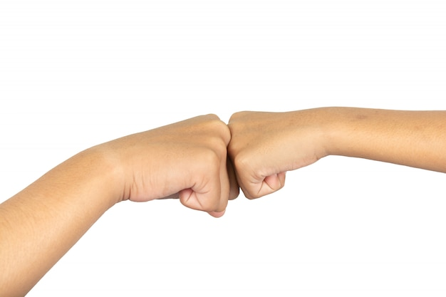 Hände kollidierten mit den händen