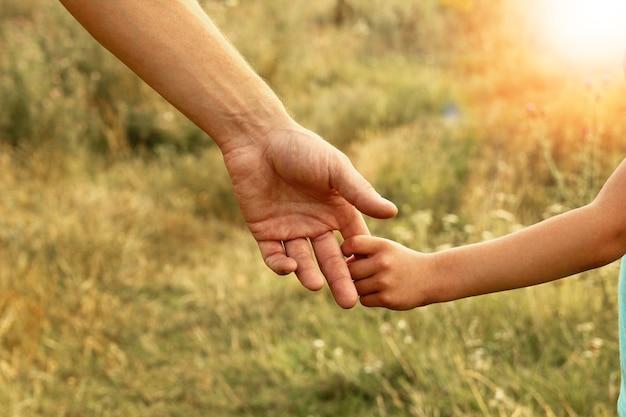 Hände von eltern und kind in der natur