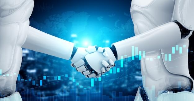 Händeschütteln des humanoiden roboters mit börsenhandelsdiagramm