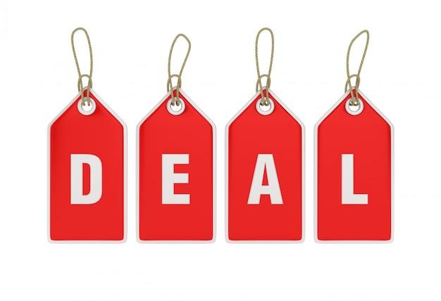 Hängendes einkaufspreisschild deal