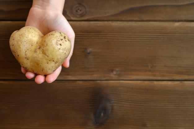 Hässliches essen. kinderhand, die hässliches gemüse eine herzförmige kartoffel auf einem hölzernen plankentisch hält.