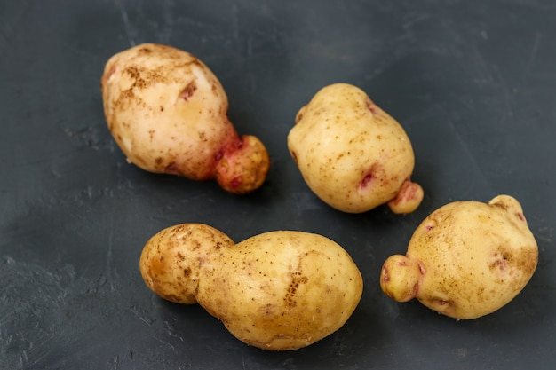 Hässliches organisches anormales gemüse - kartoffeln auf dunklem hintergrund, konzept-bio-gemüse, horizontales foto