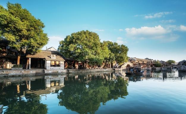 Häuser und flüsse in der antiken stadt xitang