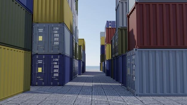 Hafenfracht-tools. stapel von containern in einem dock. 3d-rendering